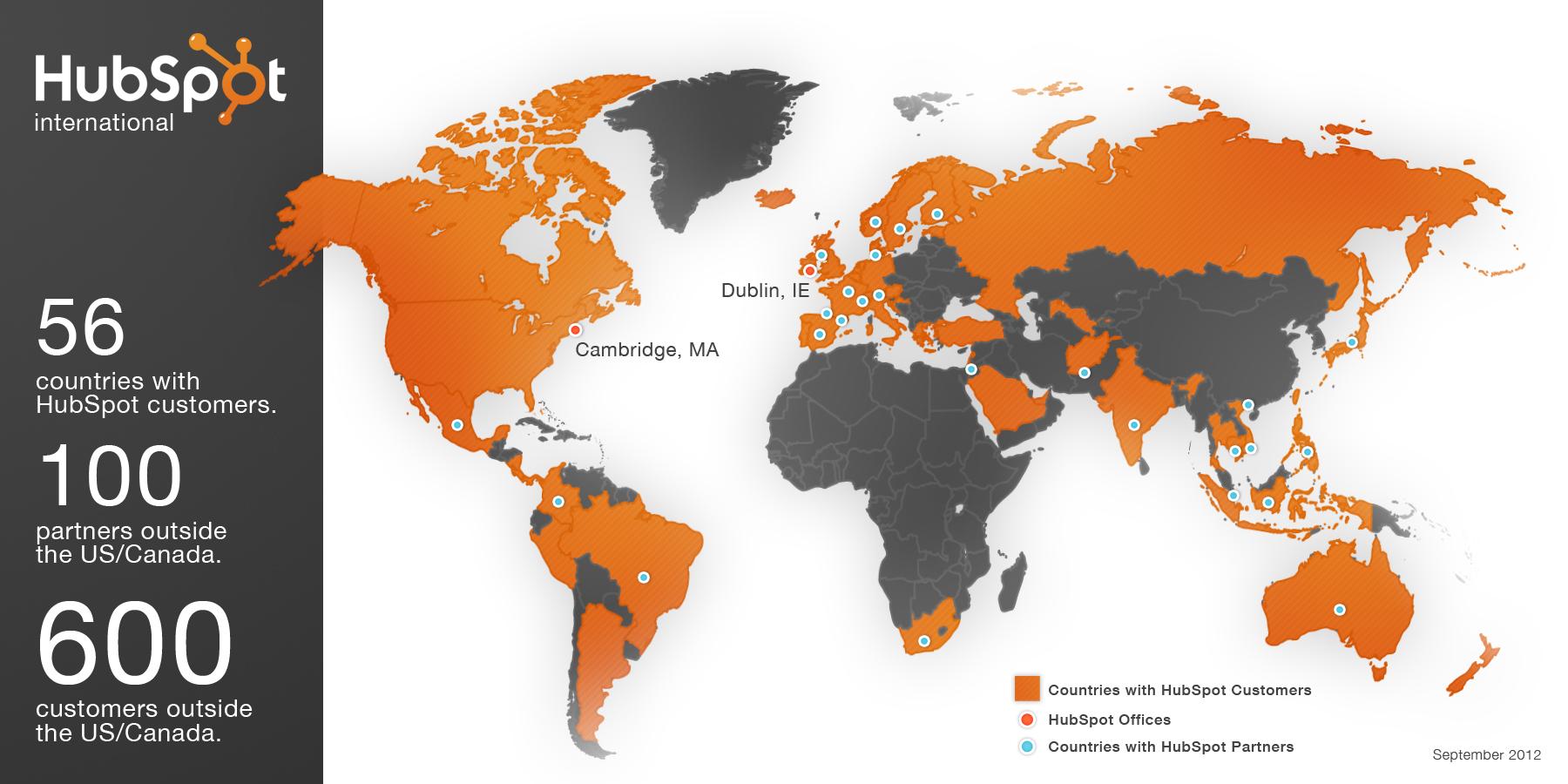 Hubspot hat mittlerweil Kunden auf der ganzen Welt