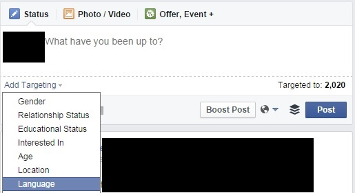 Target posts with facebook pages
