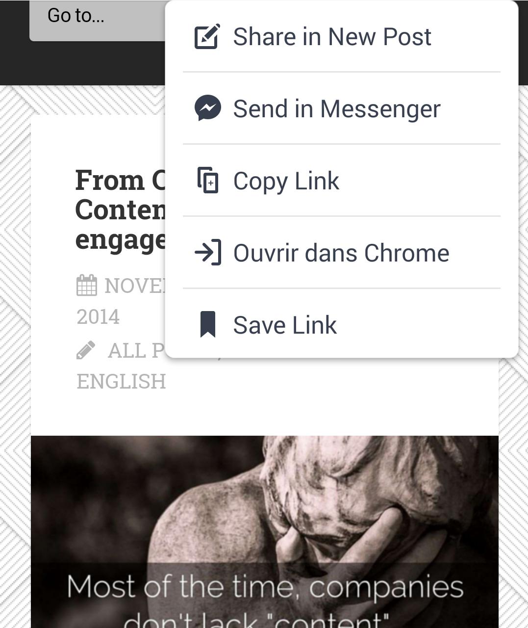 Links opened via the facebook app open in an internal window