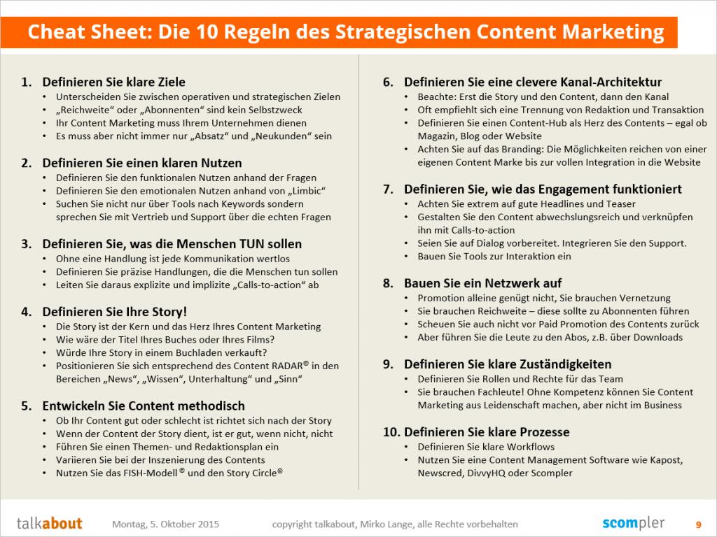 Die 10 Regeln des strategischen Content Marketing